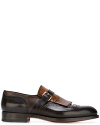 Dark Brown Fringe Leather Loafers