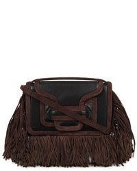 Fringed suede and leather cross body bag medium 290539