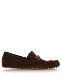 Dark Brown Fringe Suede Loafers