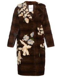 Valentino Japanese Floral Intarsia Mink Fur Coat