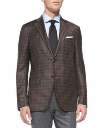 Dark Brown Gingham Blazer