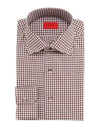Dark Brown Gingham Long Sleeve Shirt