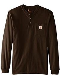 Dark brown henley shirt original 2604309