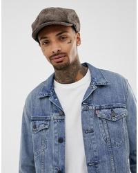 ASOS DESIGN Baker Boy Hat In Brown Herringbone