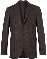 Dark Brown Herringbone Wool Blazer