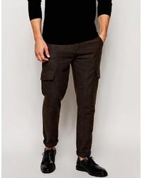 Asos Brand Skinny Pants In Herringbone Cargo Style