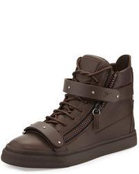 Dark Brown High Top Sneakers
