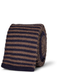 Dark Brown Horizontal Striped Wool Tie