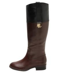 Ralph Lauren Burnished Merrie Boots Dark Brownblack