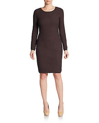 Dark Brown Knit Sheath Dress