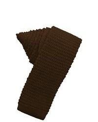 Jacob Alexander Brown Knit Skinny Tie