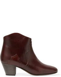 Etoile Isabel Marant Isabel Marant Toile Dicker Leather Ankle Boots Dark Brown