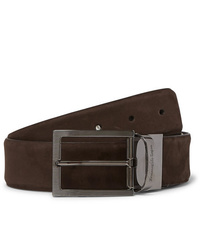 Ermenegildo Zegna 35cm Brown And Black Reversible Nubuck And Leather Belt