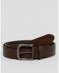 ASOS DESIGN Faux Leather Wide Belt In Brown With Burnished