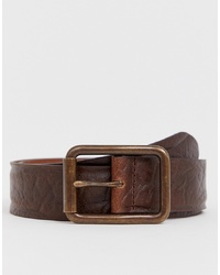 ASOS DESIGN Leather Wide Belt In Distressed Vintage Brown With Burnished