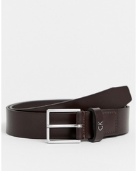 Calvin Klein Mino Leather Belt In Brown
