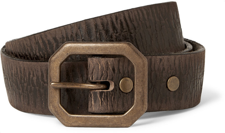 ... Rrl 3cm Brown Burlington Distressed Leather Belt ...