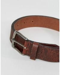 Asos Slim Leather Belt With Vintage Finish