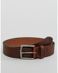 Asos Slim Leather Belt With Vintage Finish