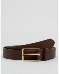 Asos Slim Smart Belt In Brown Faux Leather