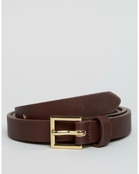 Asos Smart Super Skinny Belt In Brown Faux Leather