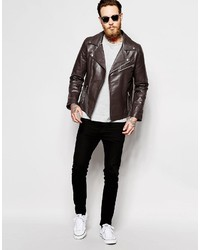 Asos Brand Asymmetric Biker Jacket In Brown