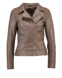 Onlcara faux leather jacket chocolate chip medium 3993089