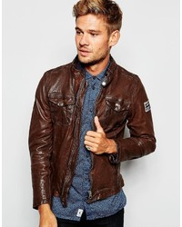 Pepe Jeans Pepe Leather Biker Jacket Guzzi Zip Thru