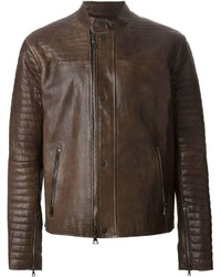 John Varvatos Ribbed Sleeve Biker Jacket