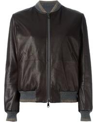 Dark Brown Leather Bomber Jacket