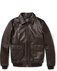 Dark Brown Leather Bomber Jacket