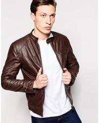 Barneys leather look biker jacket medium 392328