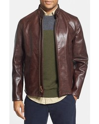 Schott NYC Casual Cafe Racer Slim Fit Leather Jacket