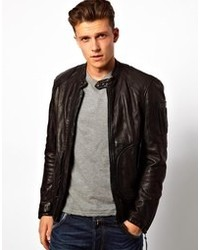 Replay Leather Bomber Jacket