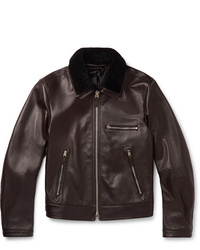 Tom Ford Slim Fit Shearling Trimmed Full Grain Leather Jacket