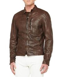 Ralph Lauren Black Label Washed Leather Moto Jacket Brown