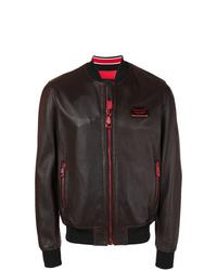 Philipp Plein Zipped Leather Bomber Jacket