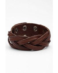 Will Leather Goods Braided Leather Bracelet Brown