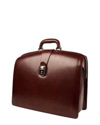 Bosca Triple Compartt Leather Briefcase Brown One Size