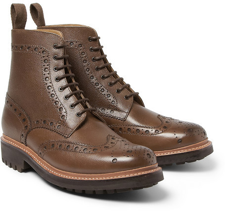 4571d043167 ... Brown Leather Brogue Boots Grenson Fred Grained Leather Brogue Boots ...