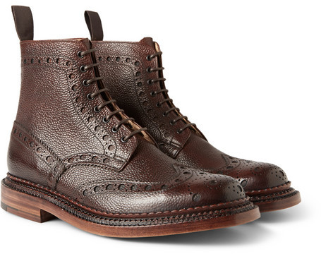806507e29b3 £701, Grenson Fred Triple Welt Pebble Grain Leather Brogue Boots
