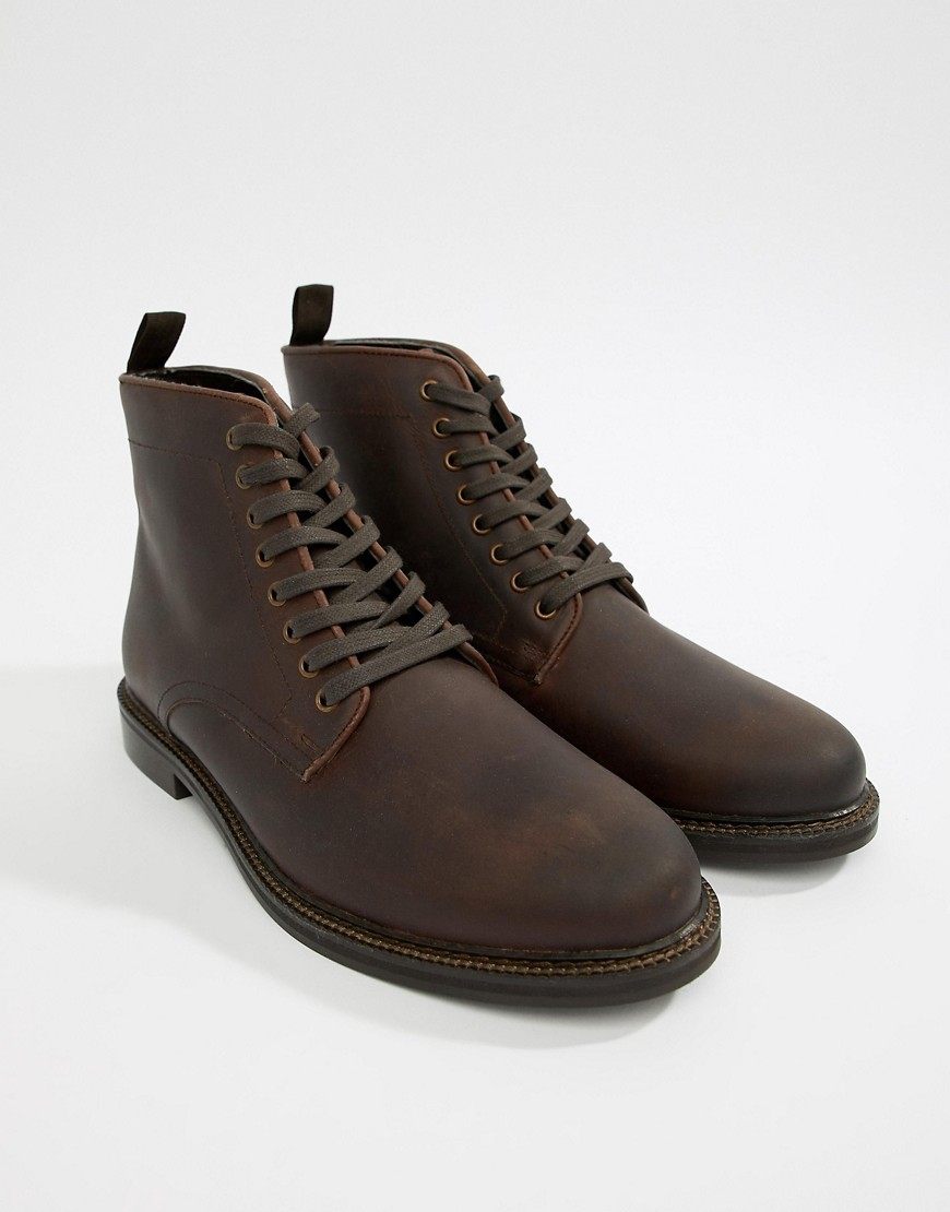 WALK LONDON Darcy Lace Up Boots In Brown Wax Leather