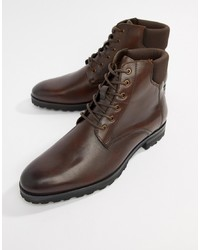 Dune Lace Up Boots In Brown Leather