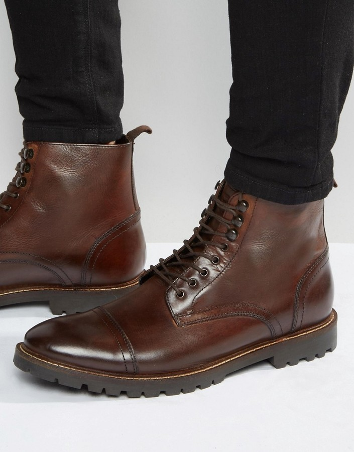 low priced cd516 f0888 £91, Base London Siege Lace Up Leather Boots