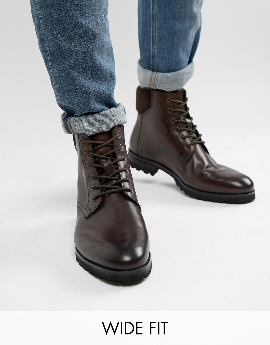 Dune Wide Fit Lace Up Boots In Brown Leather
