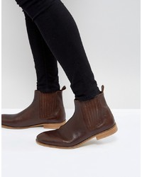 ASOS DESIGN Asos Chelsea Boots In Brown Leather With Sole
