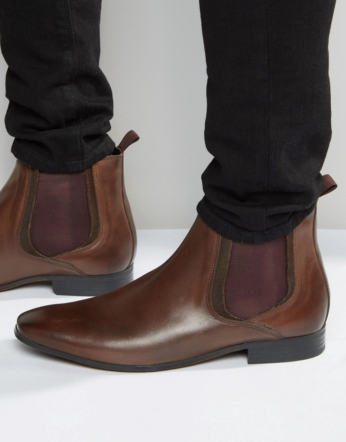 b7c2c76db7402 ... Asos Chelsea Boots In Brown Leather With Colored Elastic ...