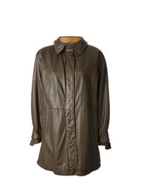 Dark Brown Leather Coat