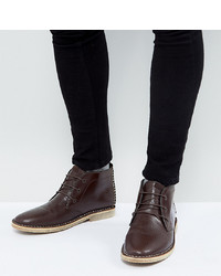 ASOS DESIGN Asos Wide Fit Desert Boots In Brown Leather With Perforated Detail