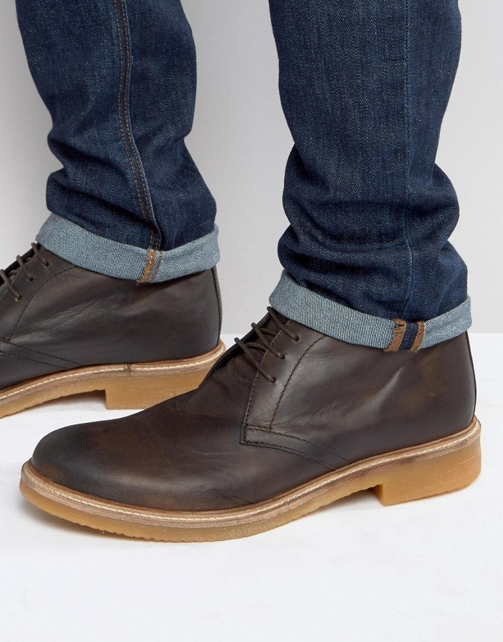 ... Dark Brown Leather Desert Boots Base London Rufus Leather Chukka Boots  ...